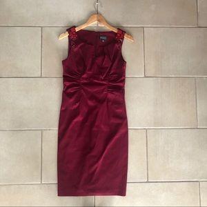 Adriana Papell Burgandy Jewel Encrusted Dress
